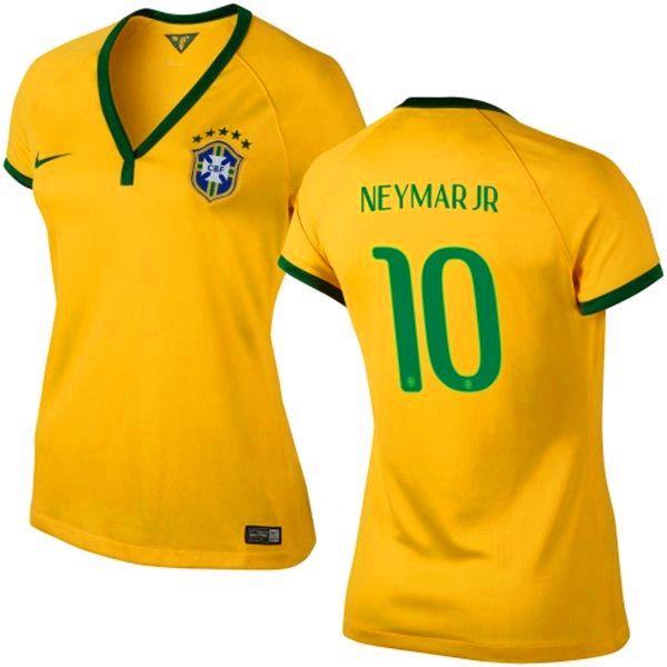 368c4cb0f Brazil 10 Neymar Jr 2014 World Cup Soccer Women s Team Color Sport Jersey  Kit Gold -  25.85   2014 Fifa World Cup Brasil