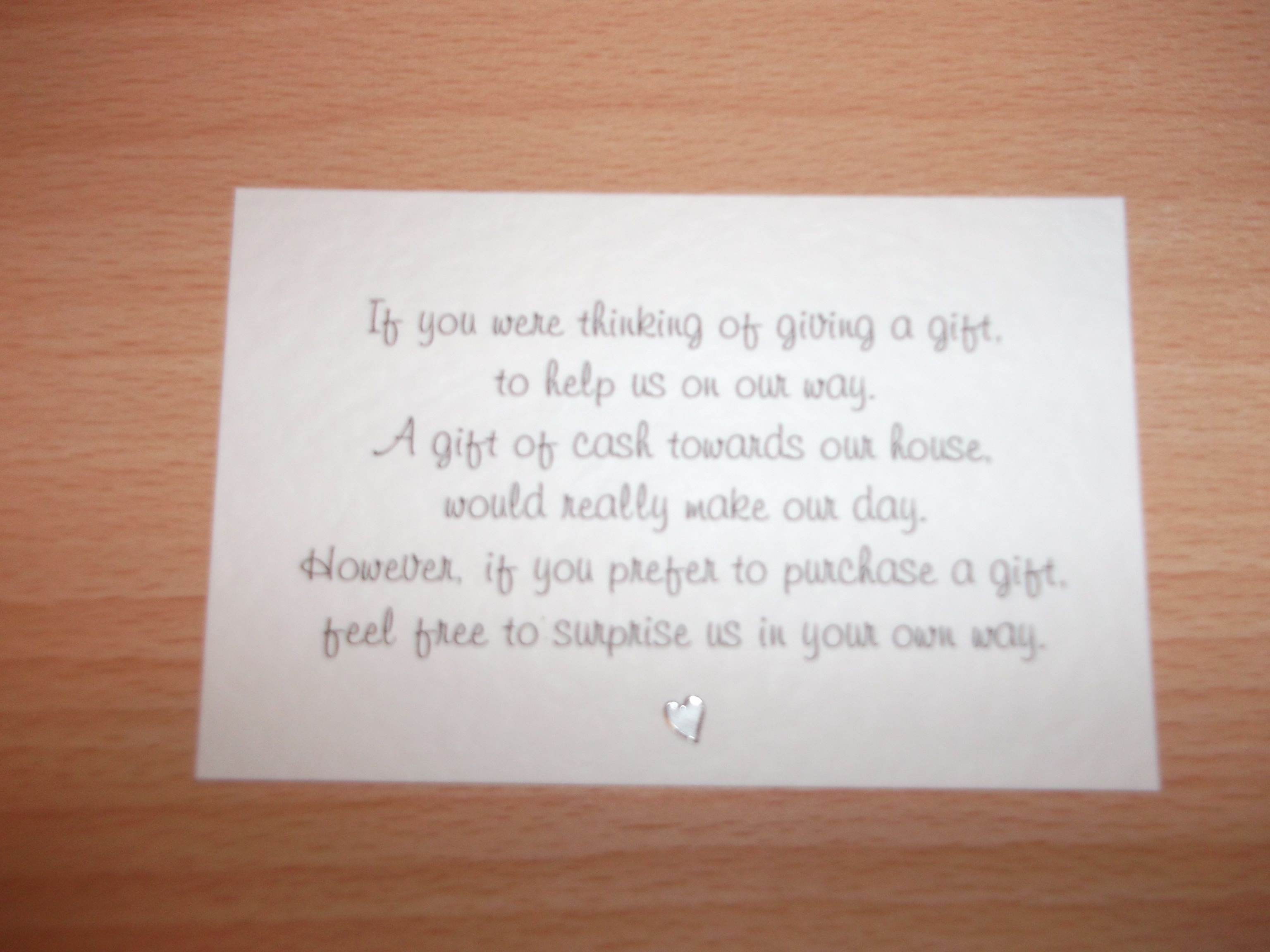 10 Mini Wedding Poem Cards Cash Vouchers Honeymoon