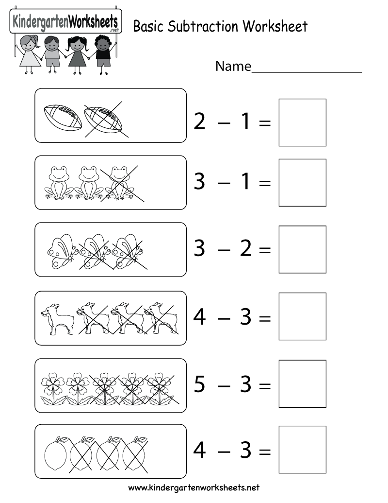 This Is A Subtraction Worksheet Using Images And Numbers This Would Be Perfect For Subtraction Worksheets Kindergarten Math Worksheets Free Basic Subtraction