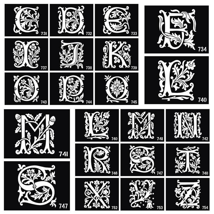 Henna Tattoo Alphabet: 26PCS Airbrush Tattoo Stencils Lettering For Body Painting