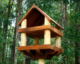 Large Wooden Bird Feeder Platform Style 23 X18 Has Decorative Sy Base For 4x4 Post Mounting