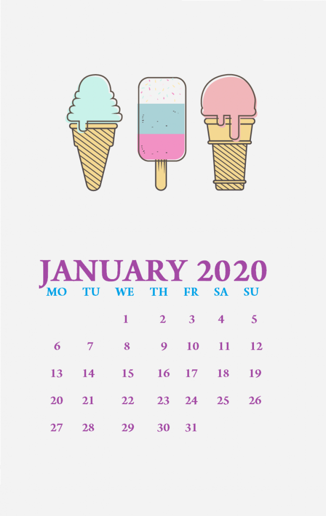 Cute January 2020 iPhone Wallpaper Calendar wallpaper