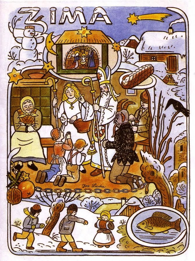 Josef Lada illustration of Winter - a form of info graphic describing weather, rituals, food