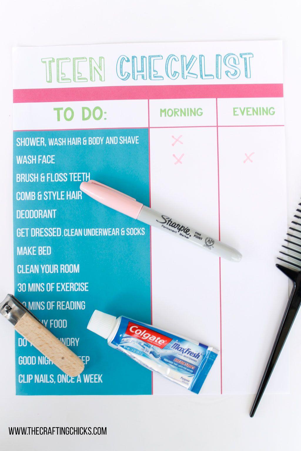 Teen Hygiene Checklist