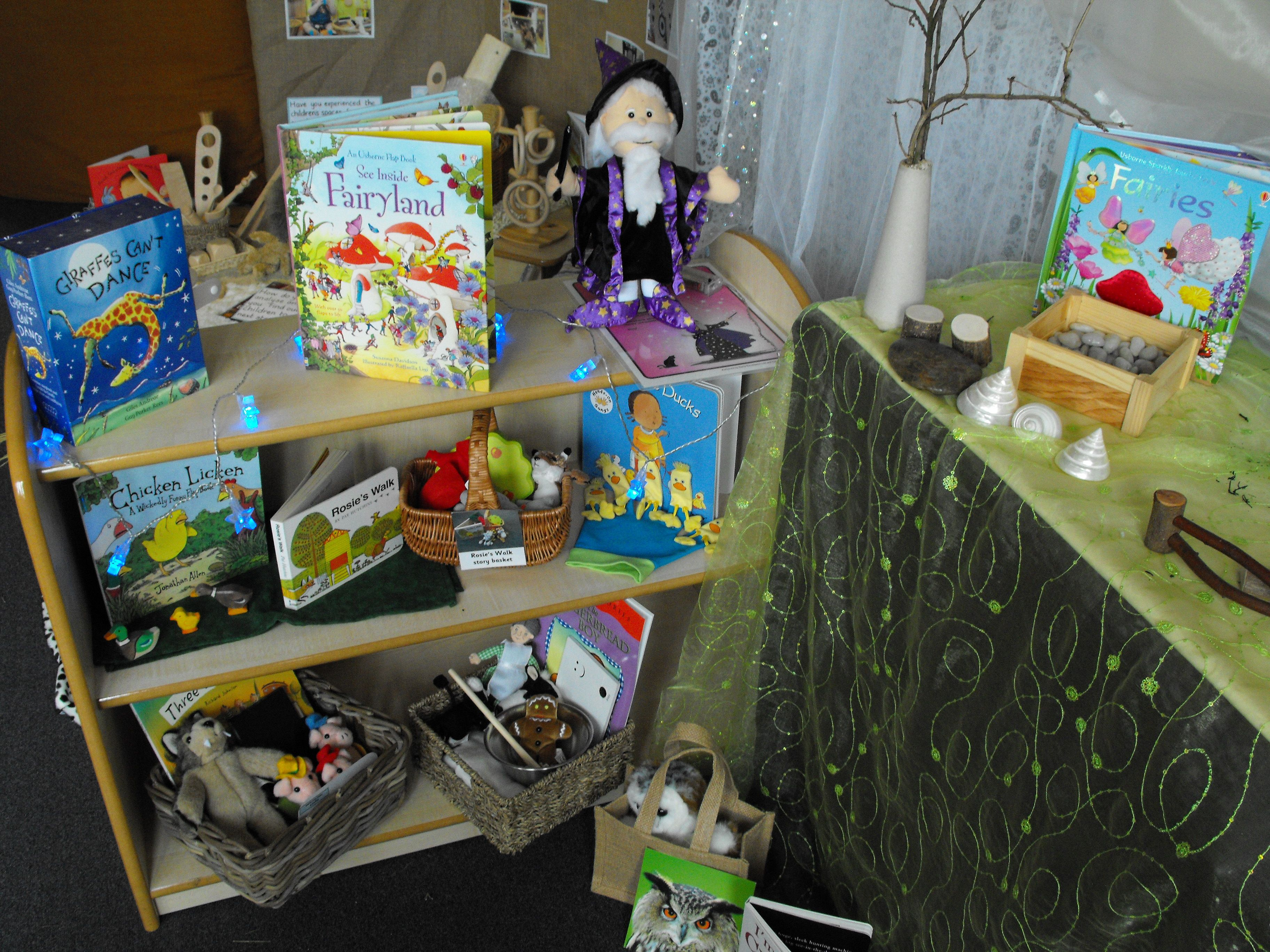 An inspiring story corner with books and related props and