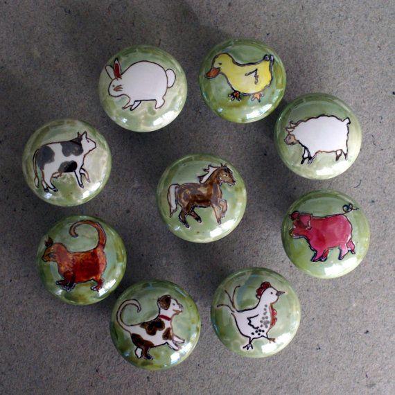 HAND PAINTED KNOBS   Custom Handpainted Ceramic Animal Cabinet Drawer Knobs