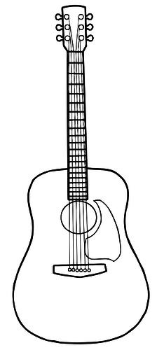 Simple Line Art Vector Image Of Acoustic Guitar Guitar Drawing Guitar Art Guitar