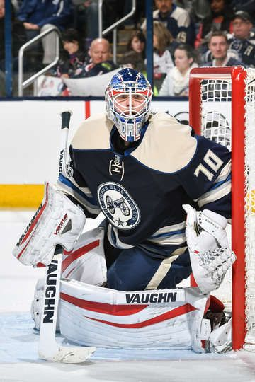 COLUMBUS, OH - FEBRUARY 15: Goaltender Joonas Korpisalo #70 of the Columbus Blue Jackets defends the net against the Toronto Maple Leafs on February 15, 2017 at Nationwide Arena in Columbus, Ohio. (Photo by Jamie Sabau/NHLI via Getty Images)