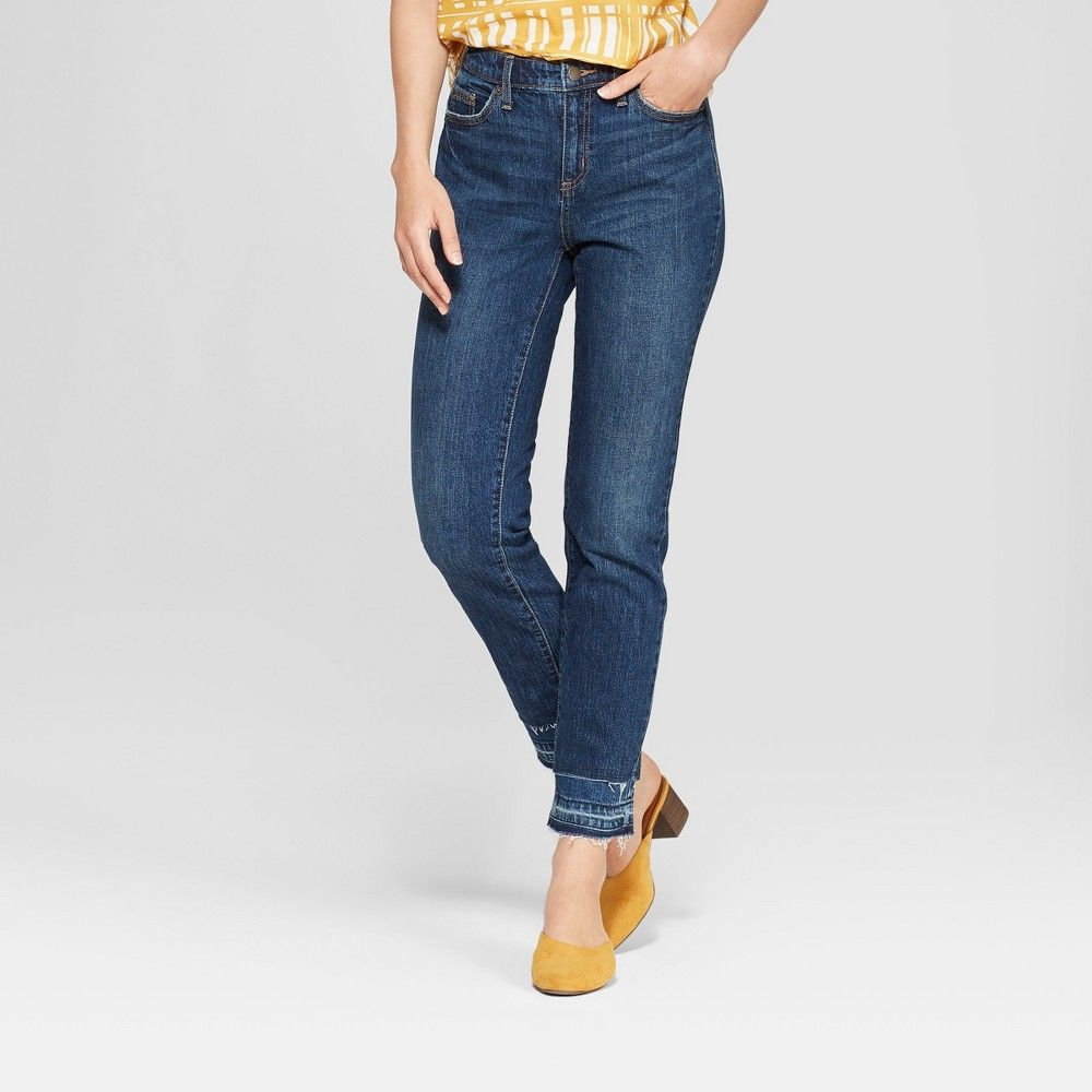 a9a362be Women's Mid-Rise Released Hem Boyfriend Jeans - Universal Thread Dark Wash  18 Short, Blue