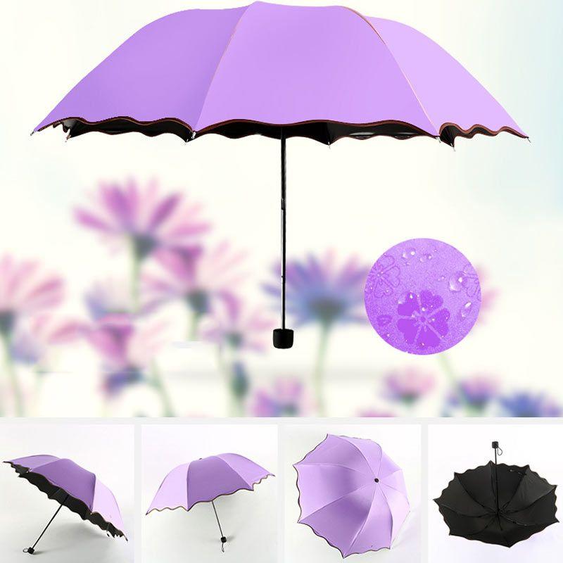 New 2017 Women Rain Umbrella three folding umbrella Anti-UV fully umbrellas rain windproof sun women umbrella E2S #Affiliate