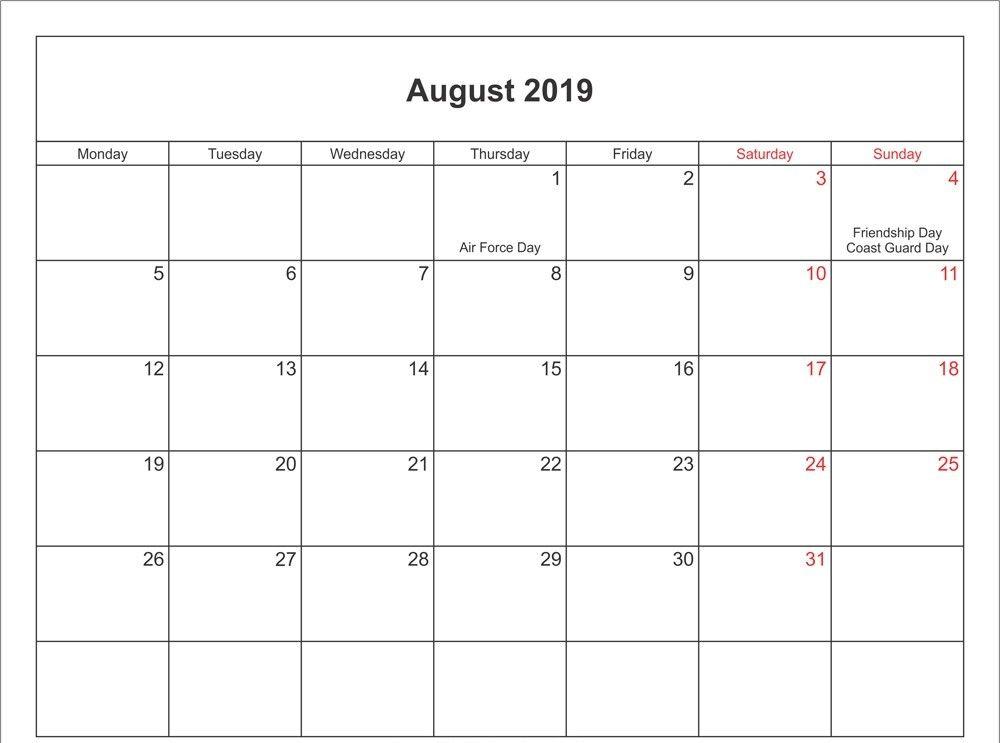 August 2019 Calendar With Holidays Us Uk Canada Australia
