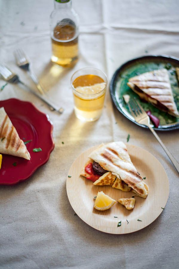 Greek Quesadillas: Made with Haloumi cheese and Loukaniko sausages