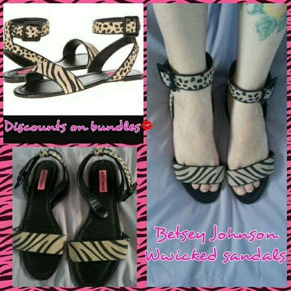 "BETSEY JOHNSON sandals gently used pair of Betsey johnsons ""Wwicked"" sandal. cute animal print,suede and leather,with halo straps. theyre alittle too big for me since i have narrow feet. will fit 7.5-8. Betsey Johnson Shoes Sandals"