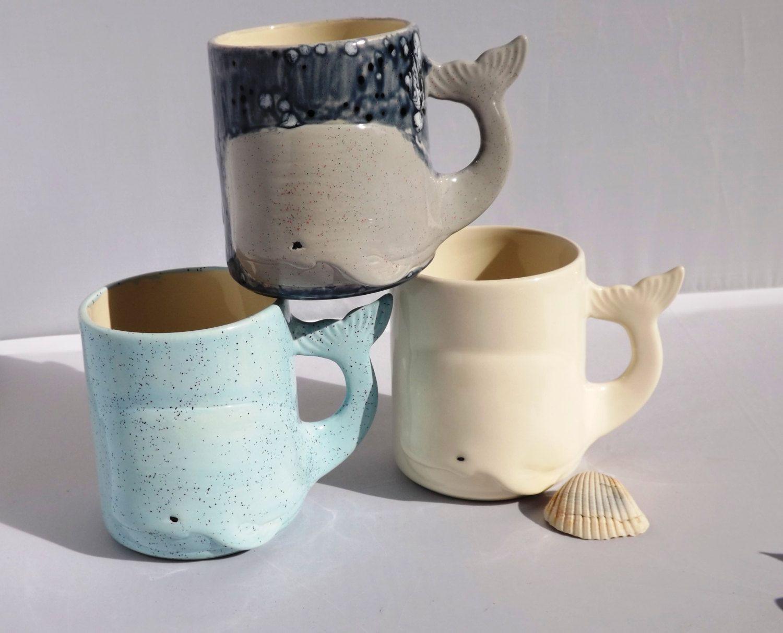 Whale mug handmade ceramic from my charleston sc studio for Clay mug ideas