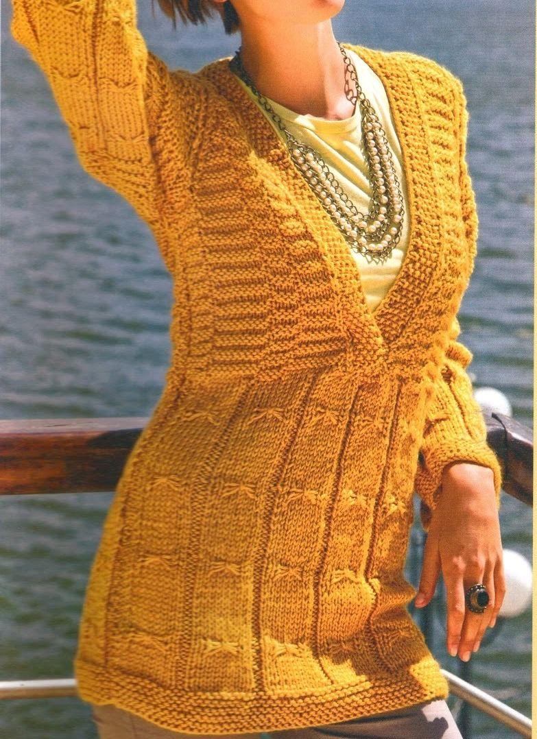 Jersey de punto en color mostaza knitting sweater - Como hacer un jersey de punto ...