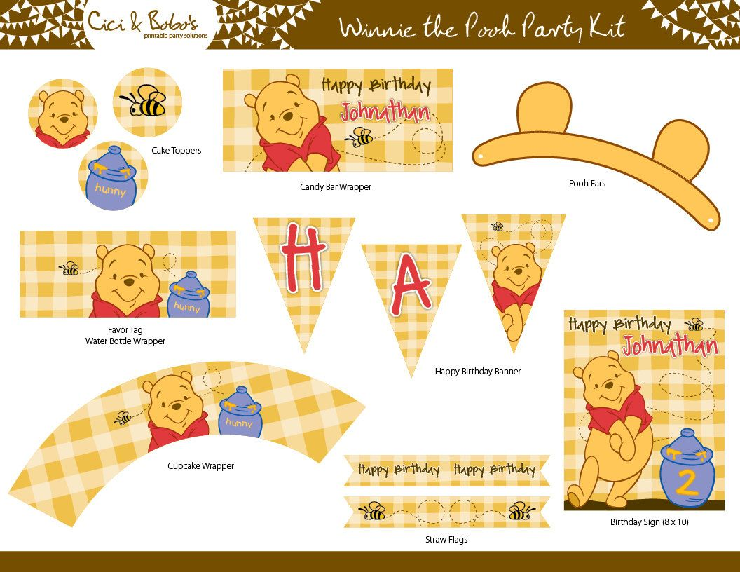 Winnie the pooh bathroom sets - Winnie The Pooh Birthday Party Printable Set Cupcake Toppers Party Banner Bear Ears