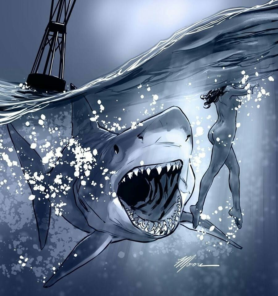 Pin By Paint Tingles Acrylic Art By T On Art Artistic In 2021 Shark Art Shark Pictures Horror Artwork