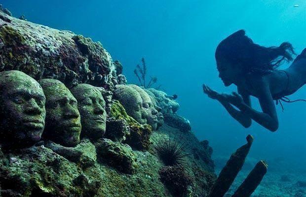 Underwater sculptures near Isla Mujeres.