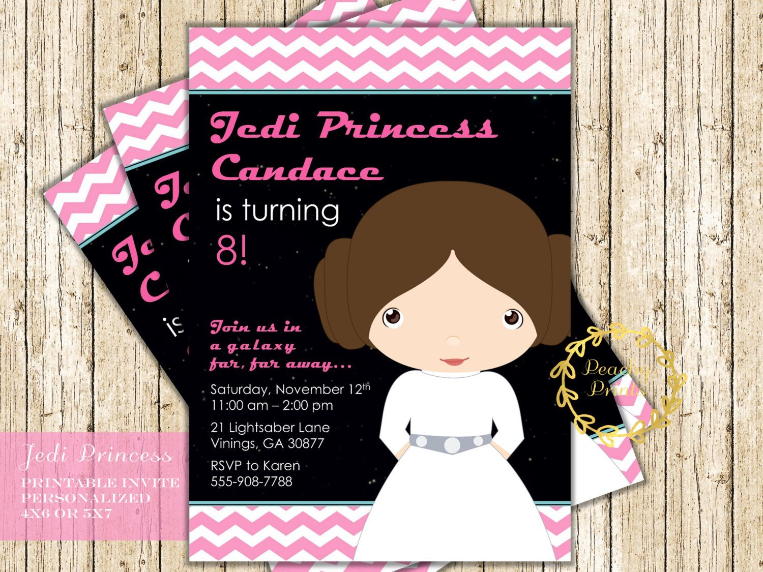 Star Wars Princess Leia Birthday Invitation Girl Party Digital Printable Invite By PeachyPrintsShop On Etsy