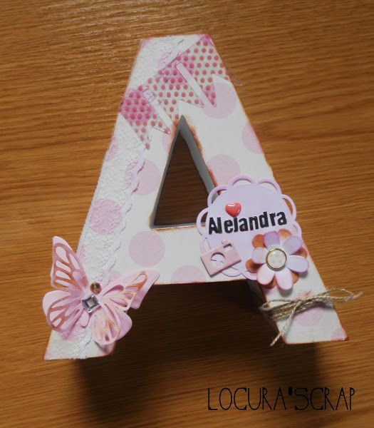 Letras a de cart n decoradas scrap decoupage and craft business - Letras decoradas scrap ...