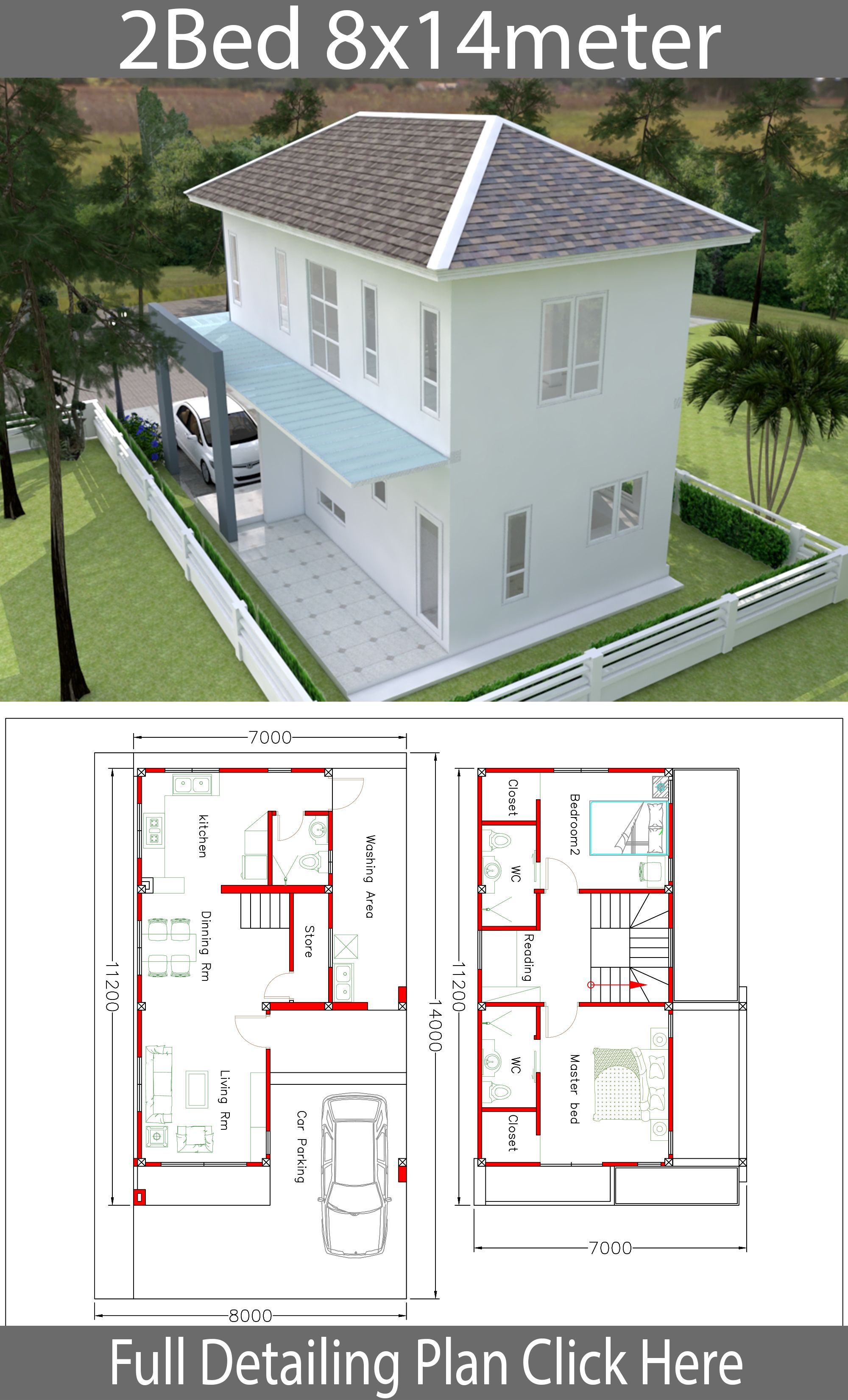 House Plans 8x14m With 2 Bedrooms House Plans Free Downloads Architectural Design House Plans House Design House Plans