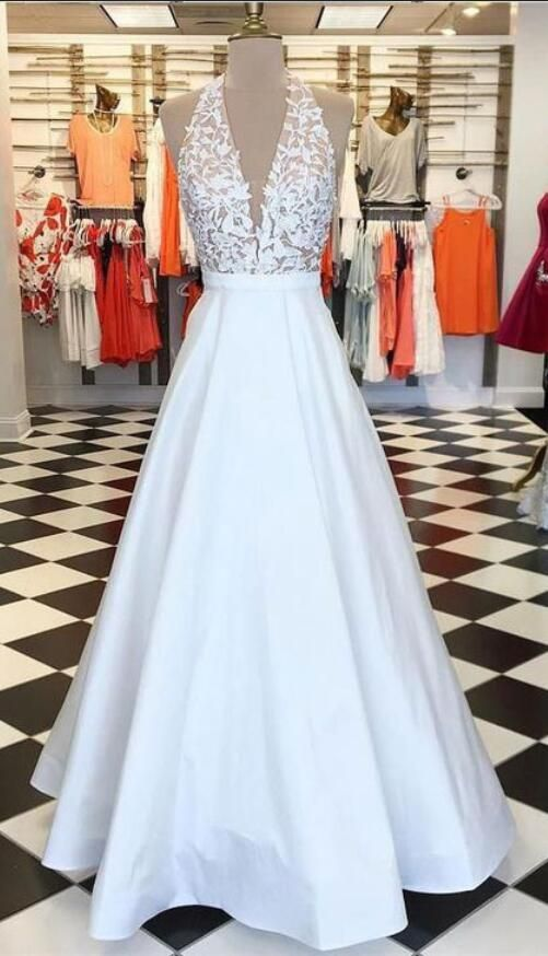 9285a9cf6e6 Sexy V Neck Halter White Long Prom Dresses With Appliques on Luulla ...