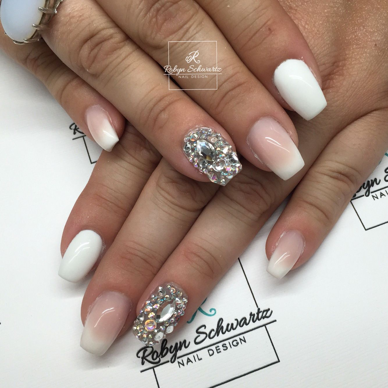 French ombré coffin gel nails | Blingy Nails | Pinterest