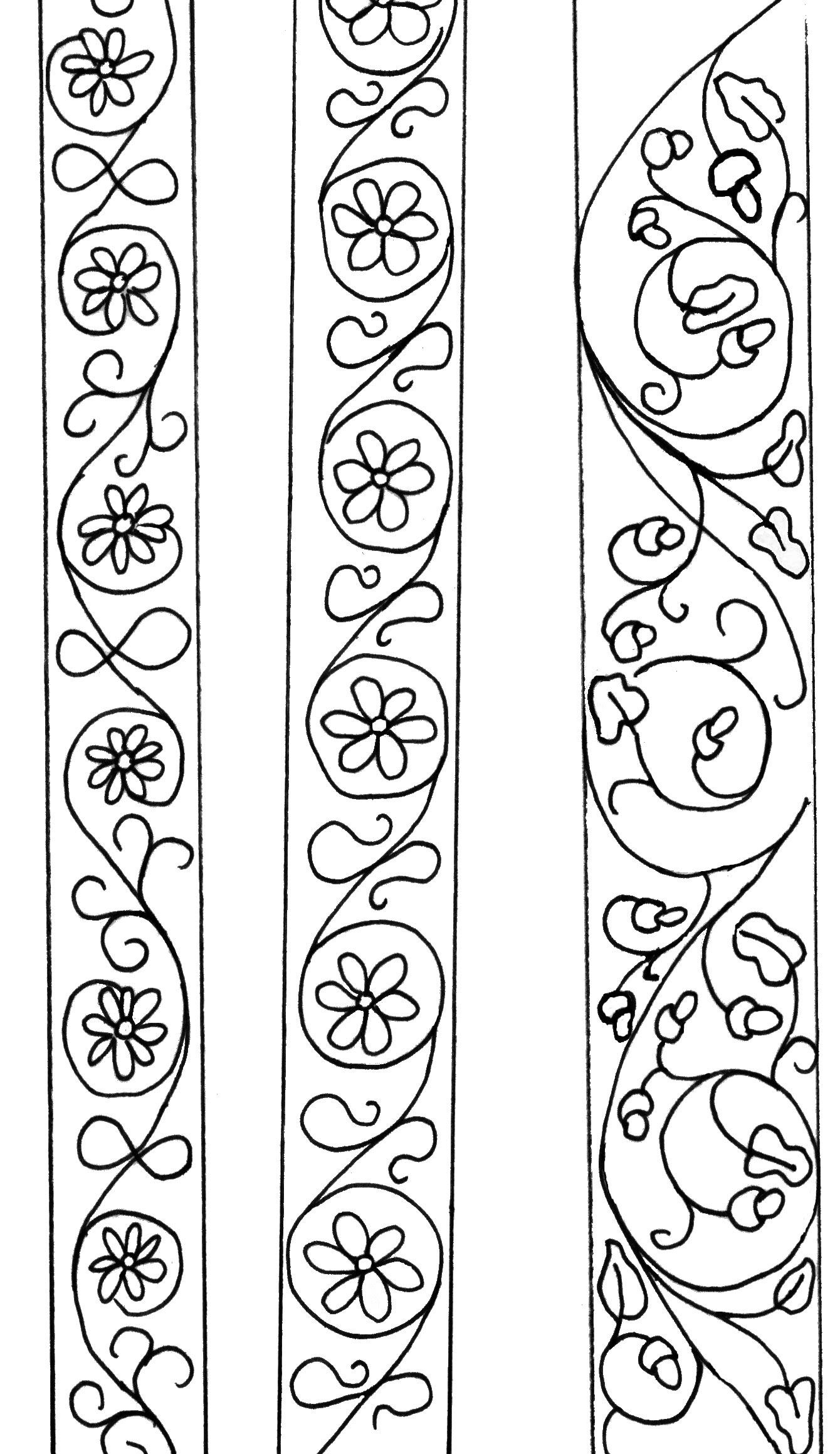 vertical scrolls | Tecnicas | Bordado, Patrones y Patrones de bordado