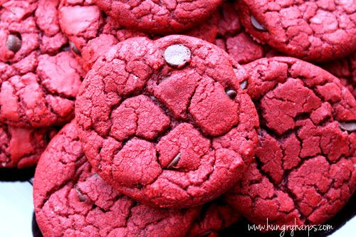 Red Velvet Chocolate Chip Cookies. Super easy and tasty - I have nothing but crumbs left!!