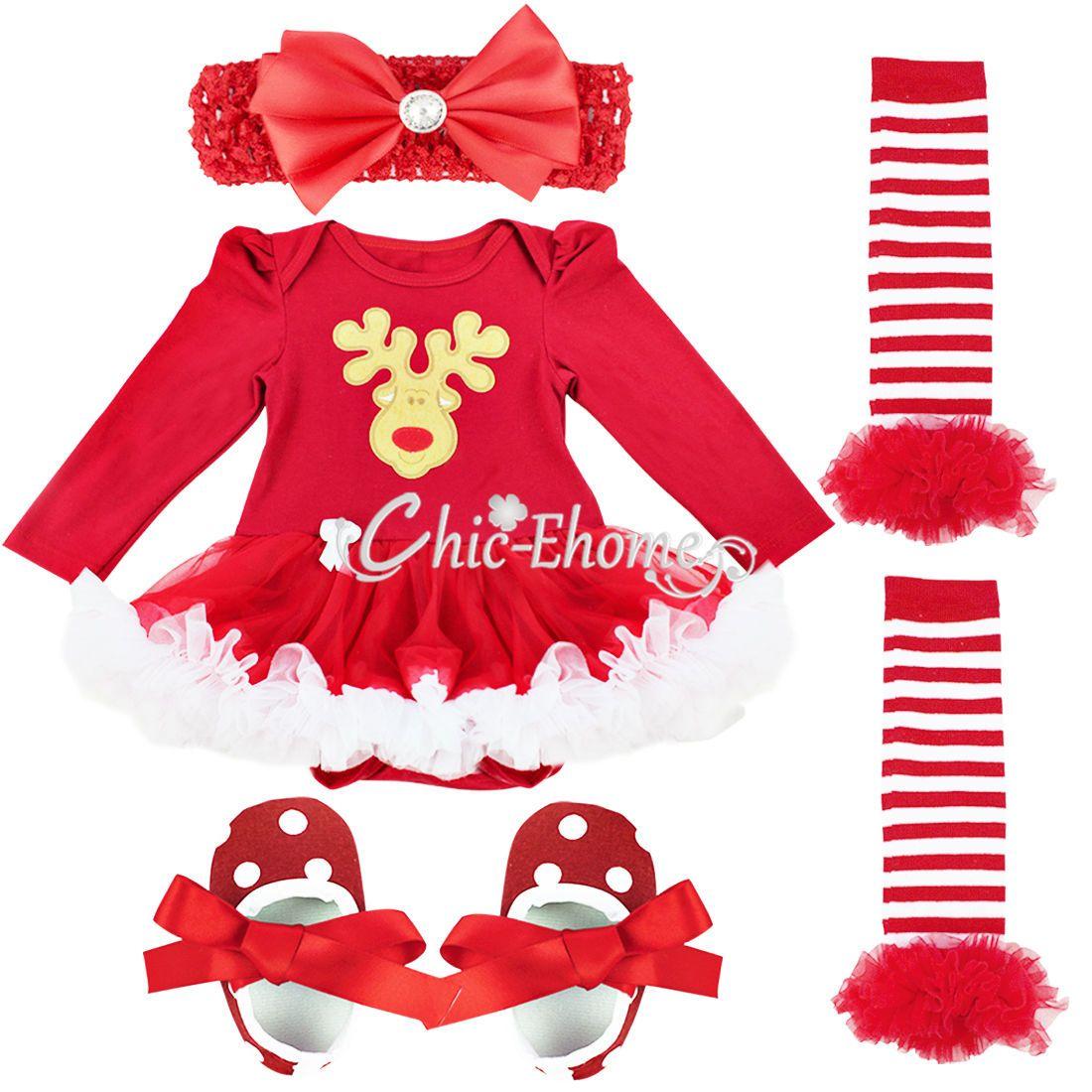 9ed1545981f9 Newborn Baby Girl Christmas Deer Santa Claus Tutu Dress Up Romper ...