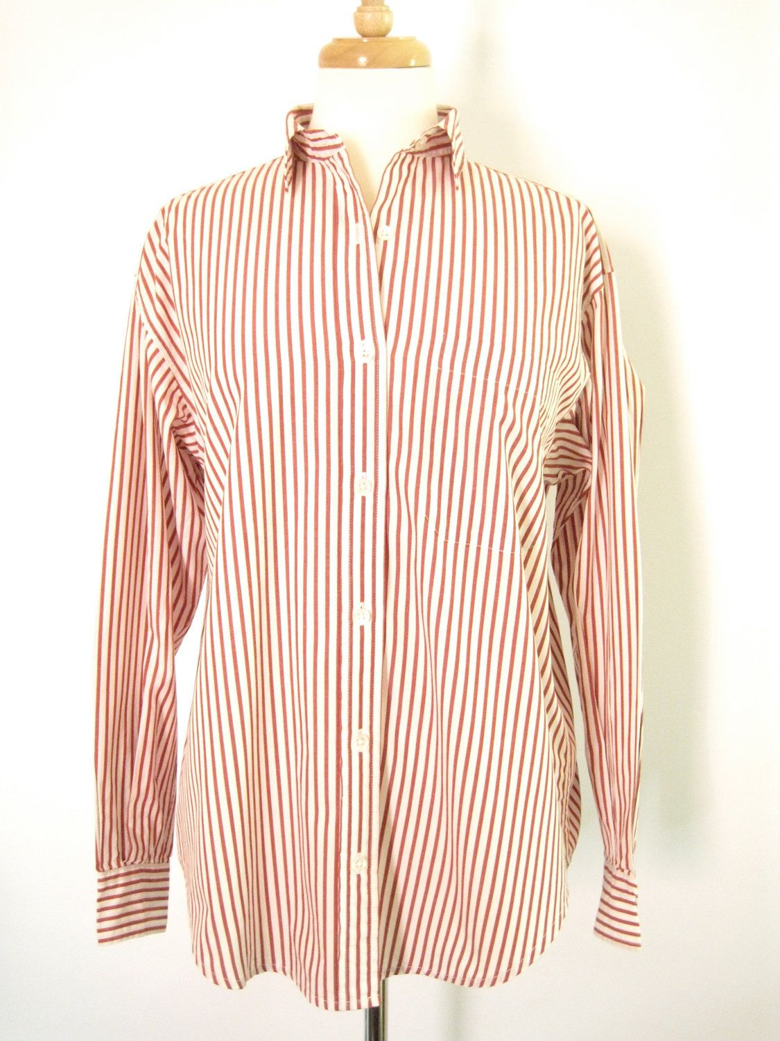 e58c160a0c3f5c Vintage Calvin Klein Red and White Striped Button Up Oxford Shirt. Size  Small. #fashion #tomboy #vintage