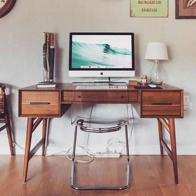so loving my midcentury desk from westelm adulting workspace rh pinterest com west elm mid century desk white west elm mid century desk review