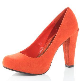 Dorothy Perkins orange bLock heeL court shoes