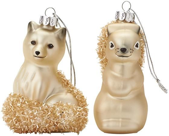 Fox And Squirrel Christmas Ornaments