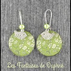 Grande boucles d'oreilles motif liberty  capel vert