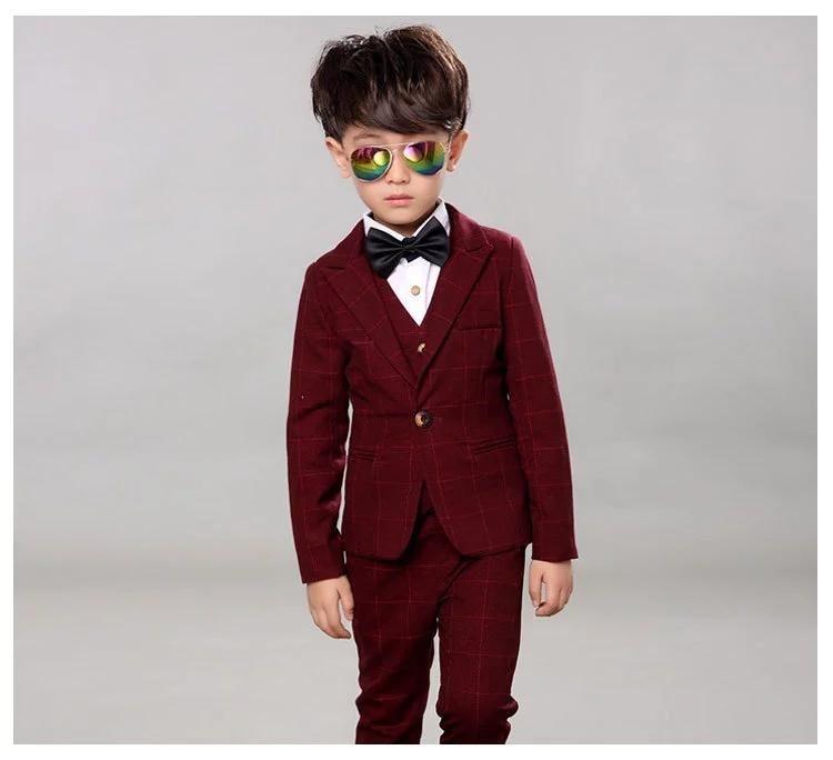 New Formal Toddler Kid Coat Pant Wine Red Party Boy/'s Wedding Tuxedo Velvet Suit