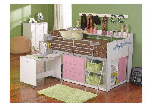 Amazon Com Rack Furniture Charleston Loft Bed Pink White Loft Bed Storage Pink Kids Bedroom Furniture Bed Desk