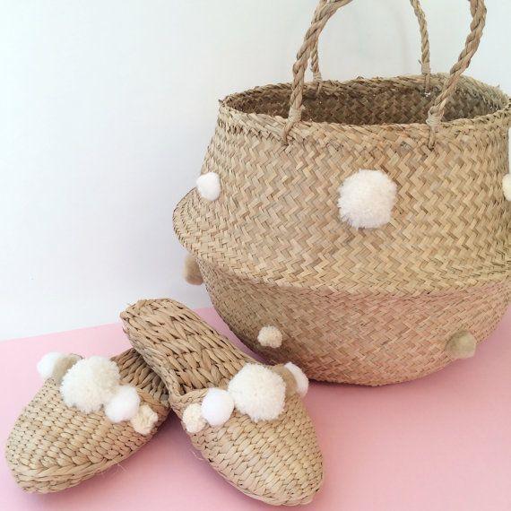 White and taupe pom pom slippers and pom pom basket by FolkFortune