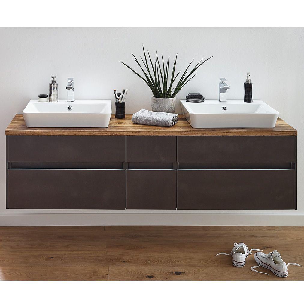 Puris UNIQUE Waschtisch-Set 172 cm mit Keramik-Aufsatz-Waschtischen - Doppelwaschplatz