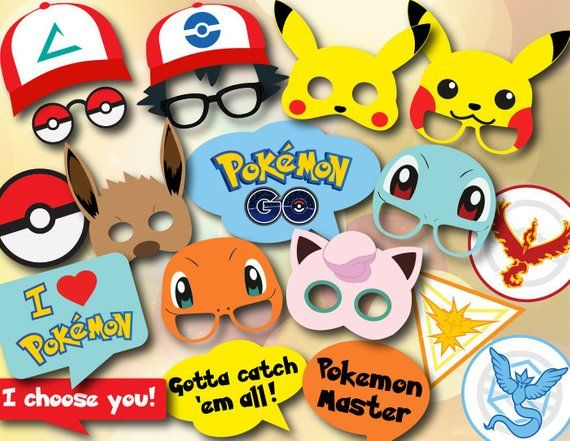 Printable Pokemon Go Photo Booth Props Pokemon Birthday