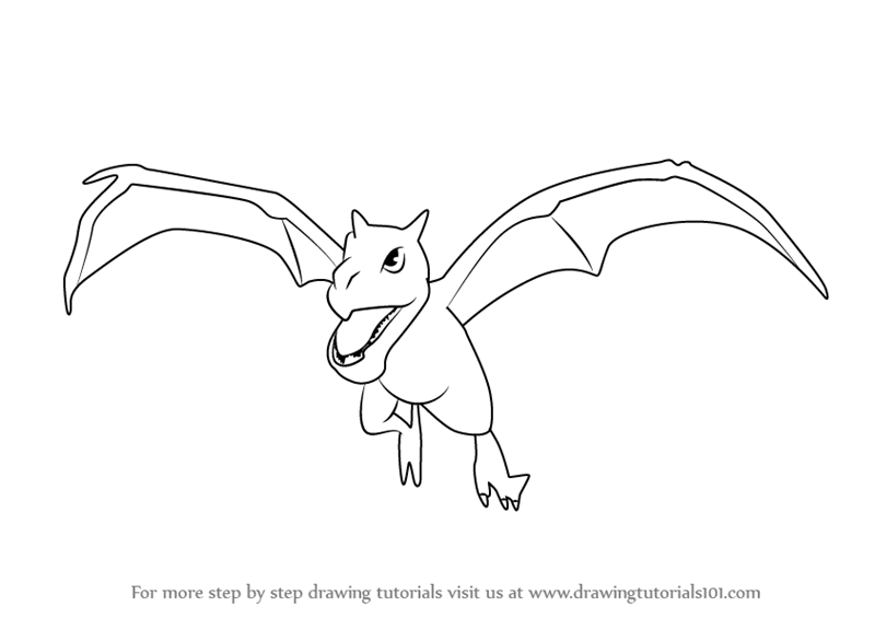 Learn How To Draw Aerodactyl From Pokemon Go Pokemon Go Step By Step Drawing Tutorials Pokemon Go Pokemon Coloring Pages Pokemon