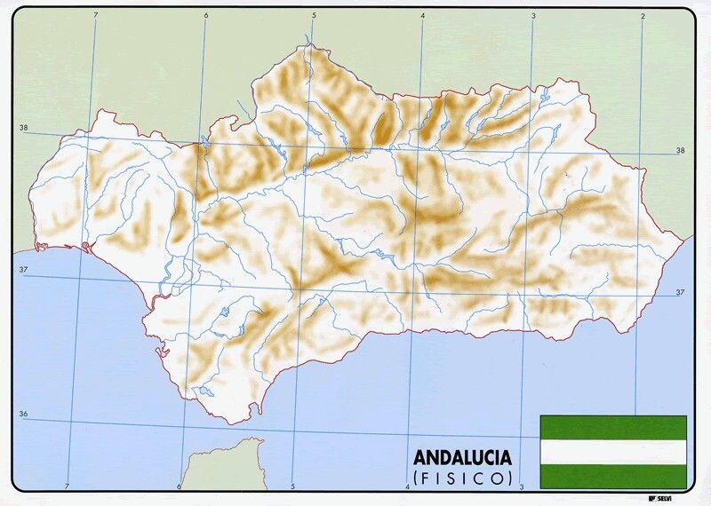 Mapa Rios De Andalucia.Mapa De Andalucia Fisica Mapa De Andalucia Mapa Fisico De Espana Mapas