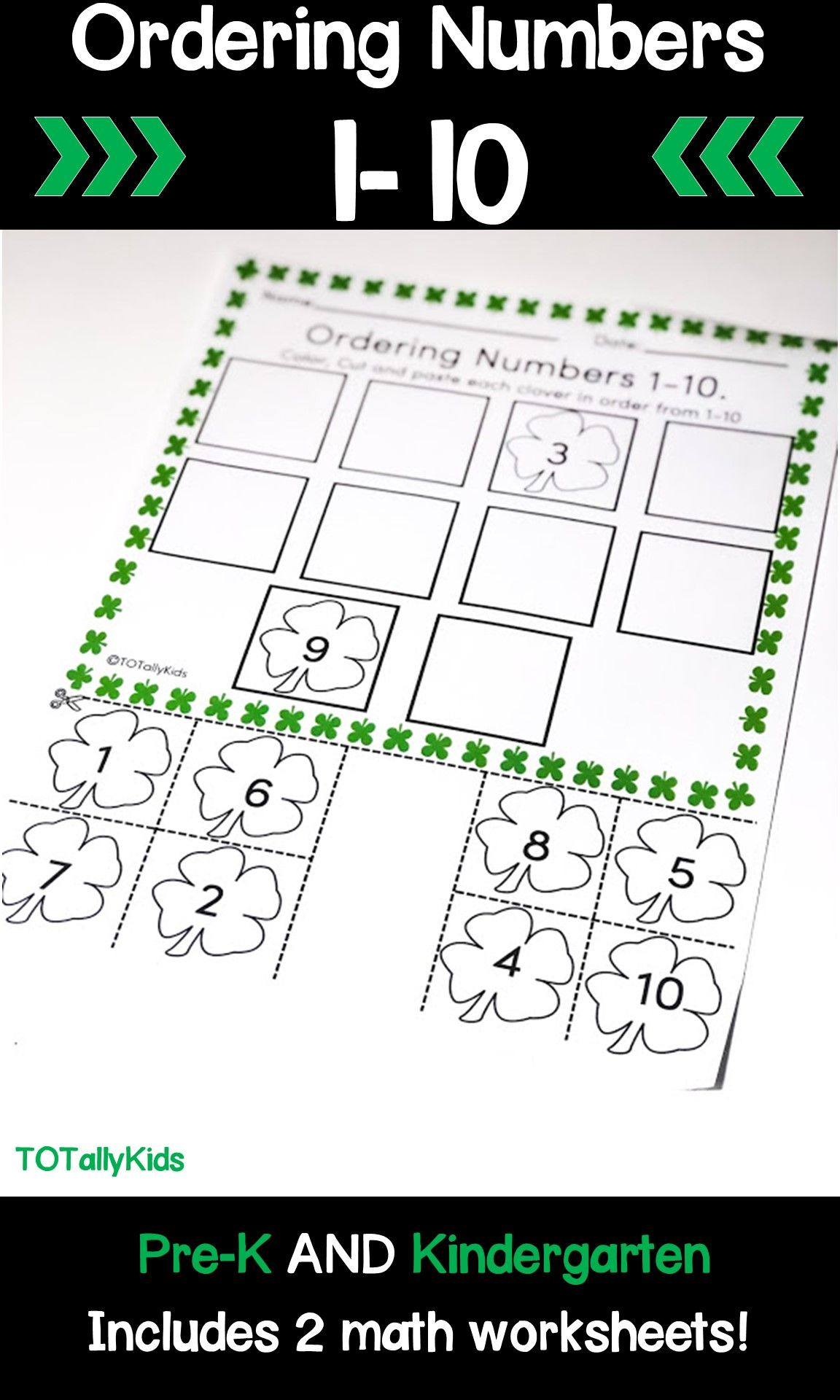 Ordering Numbers 1 10 St Patrick S Day Activity