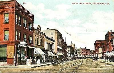 Waterloo Iowa Ia 1908 Downtown West 4th Street Hotel Hummel Vintage Postcard