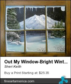 This painting depicts a view out my window of a cold winter's night with the moon glowing brightly upon the snow and icy bushes, trees, rocks and an ice covered lake and a grandiose snow covered mountain.