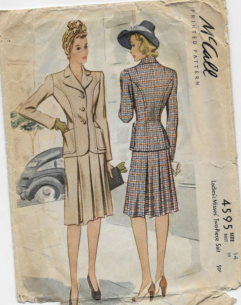 Vintage 1940's McCall Sewing Pattern 4595  Two-Piece Suit skirt & Jacket Size 14