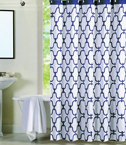 Max Studio Home 100 Percent Cotton Shower Curtain Moroccan Tile Quatrefoil Navy Blue White Lattice