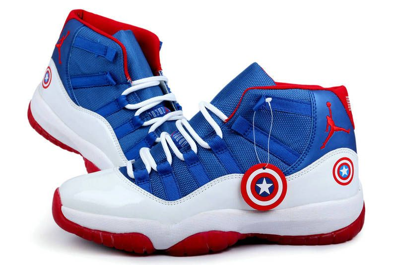 reputable site 71b54 980ff Authentic Air Jordan 11 Captain America Blue White Red