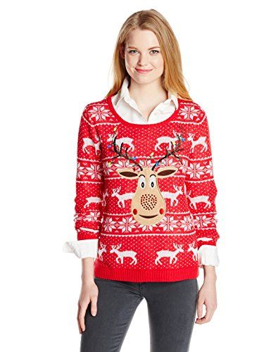 Isabella's Closet Women's Sequin Rudolph On Fair Isle Ugly ...