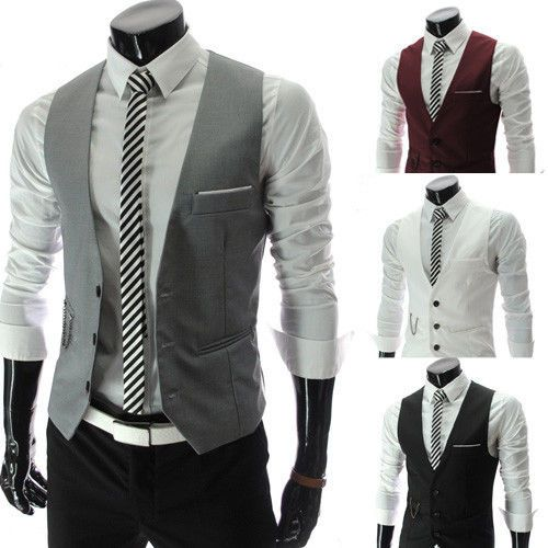 Men Formal Slim Fit Pocket Design Casual Fashion V Neck Vest Coat 4 Colors    eBay